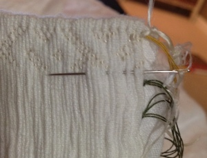 stitching the pleats